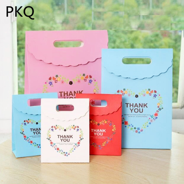 10PCS Flowers Paper Candy Bag Thank You Gift Bags Large Wedding Favors Box Packaging Birthday Party For Guests