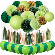 NICROLANDEE 46 pcs/set Green Happy Birthday Anniversary Baby Shower Party Decoration Kit Paper Flower Balloons Decor  DIY