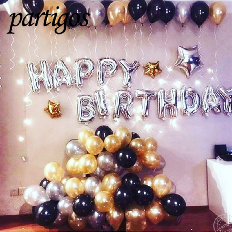 1 set Happy Birthday Letters Rose Gold Foil Balloons For Wedding Birthday Party Banners 2