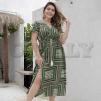 CUERLY Ethnic plaid summer dress women Tassel sashes split green midi holiday dresses Female elegant boho beach vestidos 2019