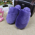Tamaño grande 35-44 Zapatillas de Casa Las Mujeres de Piel de piel de Oveja Natural Amantes de la Casa Zapatillas Para Hombre Invierno Deslizador de Interior de Lujo Peluda zapatillas
