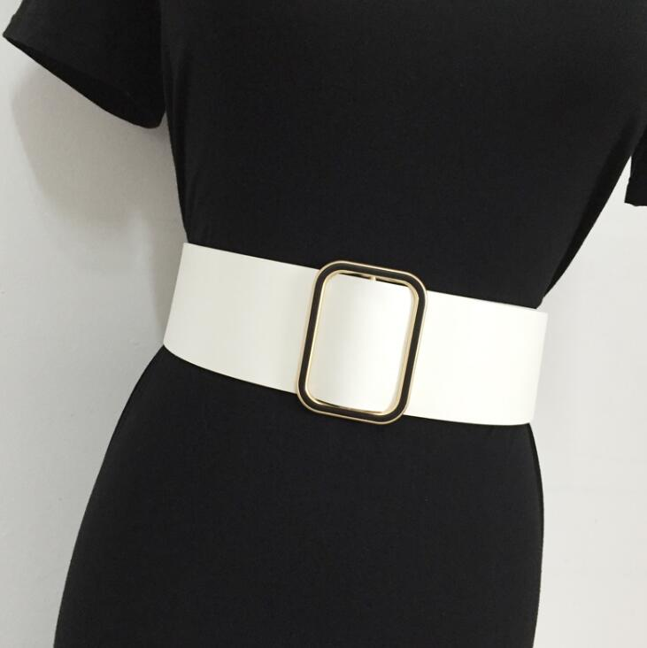 Women's Runway Fashion PU Leather Cummerbunds Female Dress Corsets Waistband Belts Decoration Wide Belt R1526