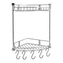 Полочка для ванны угловая WasserKRAFT K-1222 (5 крючков в комплекте, нержавеющая сталь, хромоникелевое покрытие)