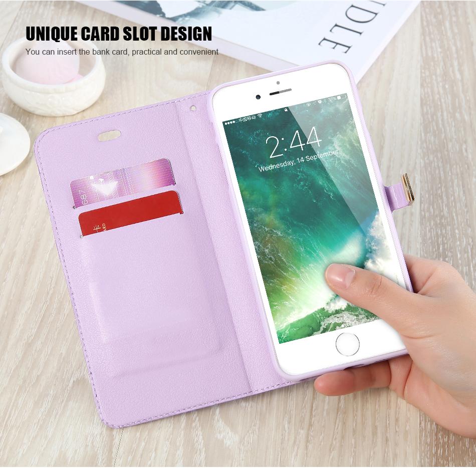 Kisscase candy kolor skóry case dla iphone 7 7 plus odwróć karty portfel slot case pokrywa dla iphone 6 6s plus 5S 5c 4S z logo 5