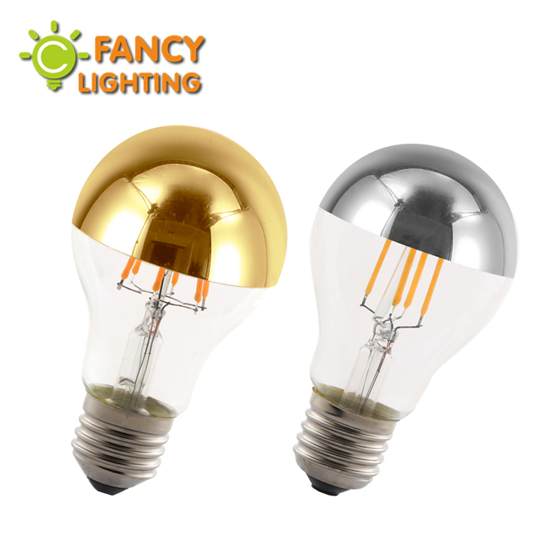 Led lamp 220V Dimmable bombilla led E27 A19 Golden/Silver-Top bulb for home/livingRoom/bedroom decor 4W/6W decorative light bulb