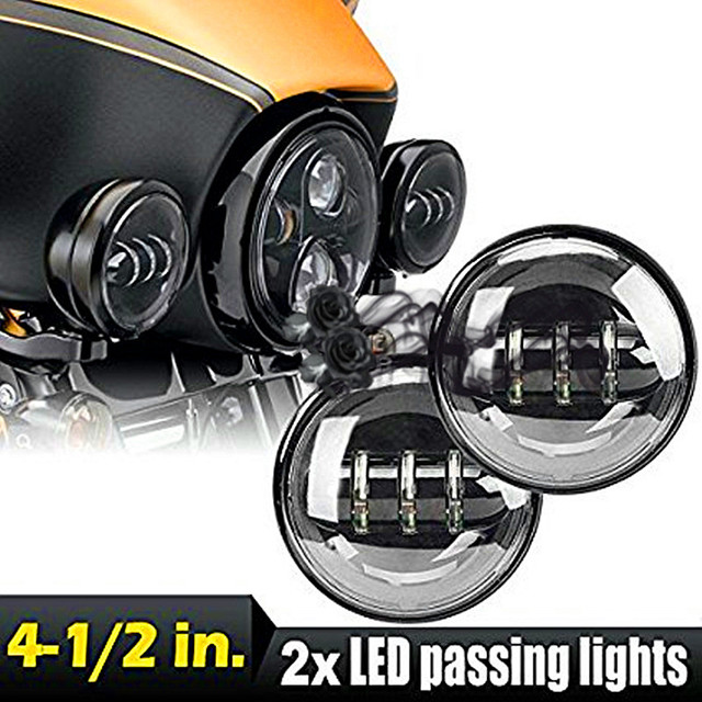 """Pair Round 4.5"""" 4 1/2"""" 30W LED Auxiliary Daymaker Passing Projector Auxiliary Fog Light Lamp for Harley Motorcycle daytime light"""