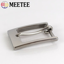 Meetee 1pc/3pcs 35mm Stainless Steel Belt Buckles Men Pin Buckle Head DIY Leather Craft Hardware Decorative Accessory ZK842
