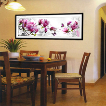 DIY Handmade Pink Magnolia Counted Cross Stitch Embroidery Kit 3D Flower Decor