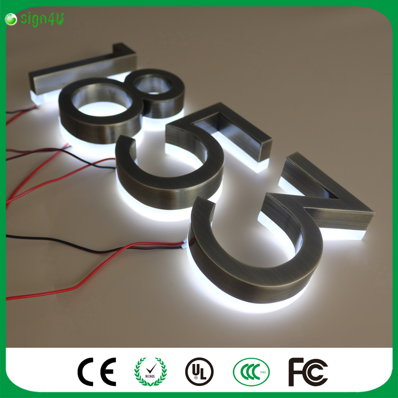 ФОТО Wholesale brushed stainless steel LED backlit house number light signs