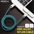 Roca del cargador de datos usb cable de nylon trenzado de alambre de metal enchufe micro usb cable para iphone 6 6 s plus 5s 5 ipad ipad mini ios 8 9