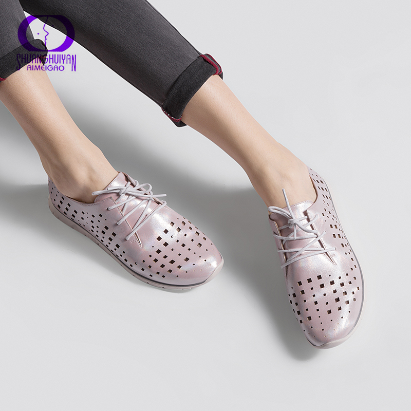 Casual Shoes Women Lace Up Flat Shoes Breathable Black Casual Shoes