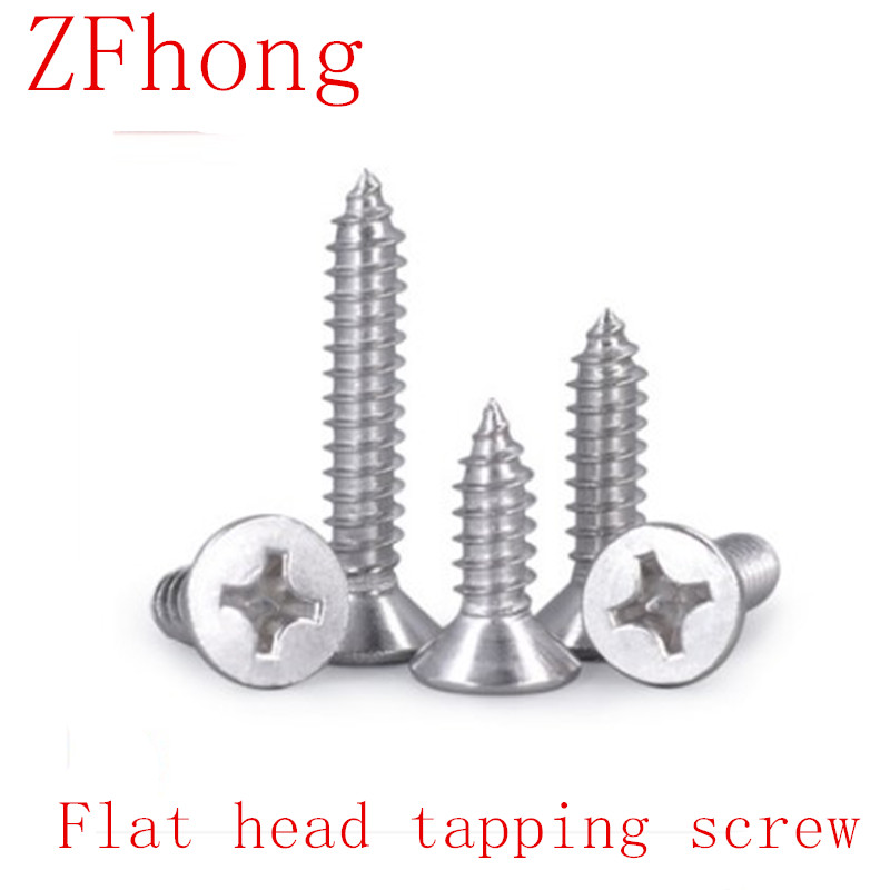 50-100PCS M1 M1.2 M1.4 M1.7 <font><b>M2</b></font> <font><b>M2</b></font>.2 <font><b>M2</b></font>.6 M3 M4 304 Stainless Steel Screws Cross Recessed Flat Head Countersunk <font><b>tapping</b></font> screw image