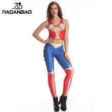 Nadanbao Марка Летняя Новинка 2017 г. Мода Wonder Woman Косплэй Леггинсы 3D печатных Legins Для женщин Фитнес комплект