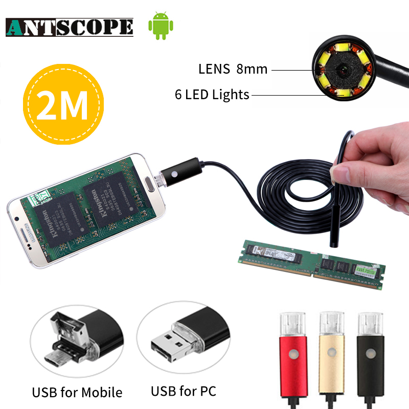 8MM 2IN1 Micro USB Endoscope Camera 2M Lens Android Phone Endoscope Mini Camera Inspection Borescope Tube Snake Mini Camera gakaki 7mm lens usb endoscope borescope android camera 2m waterproof inspection snake tube for android phone borescope camera