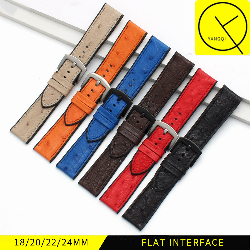 18mm 20mm 22mm 24mm Ostrich Skin Silicone Universal Watchband Bracelet for Breitling Tissot Rubber Watch Strap Fashion Man Wrist jansin 22mm watchband for garmin fenix 5 easy fit silicone replacement band sports silicone wristband for forerunner 935 gps