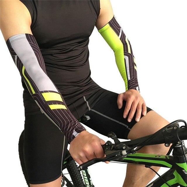 dce4b92e Compresión brazo Sun UV protección para hombres deportes correr ciclismo  baloncesto voleibol codo brazo mangas de