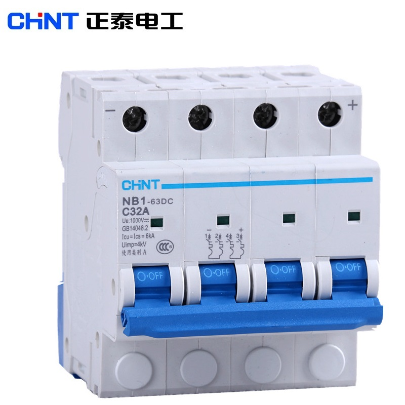 CHINT NB1 63DC 4P DC Switch Solar Mini Circuit Breaker Overload Protection Switch 10A/16A/20A/25A/32A/40A/50A/63A DC1000V MCB CE