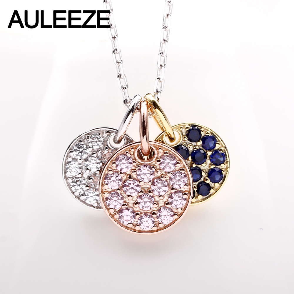 AULEEZE Natural Sapphire Real Diamond Pendant 18K White Gold Necklace Gemstone Jewelry Gifts
