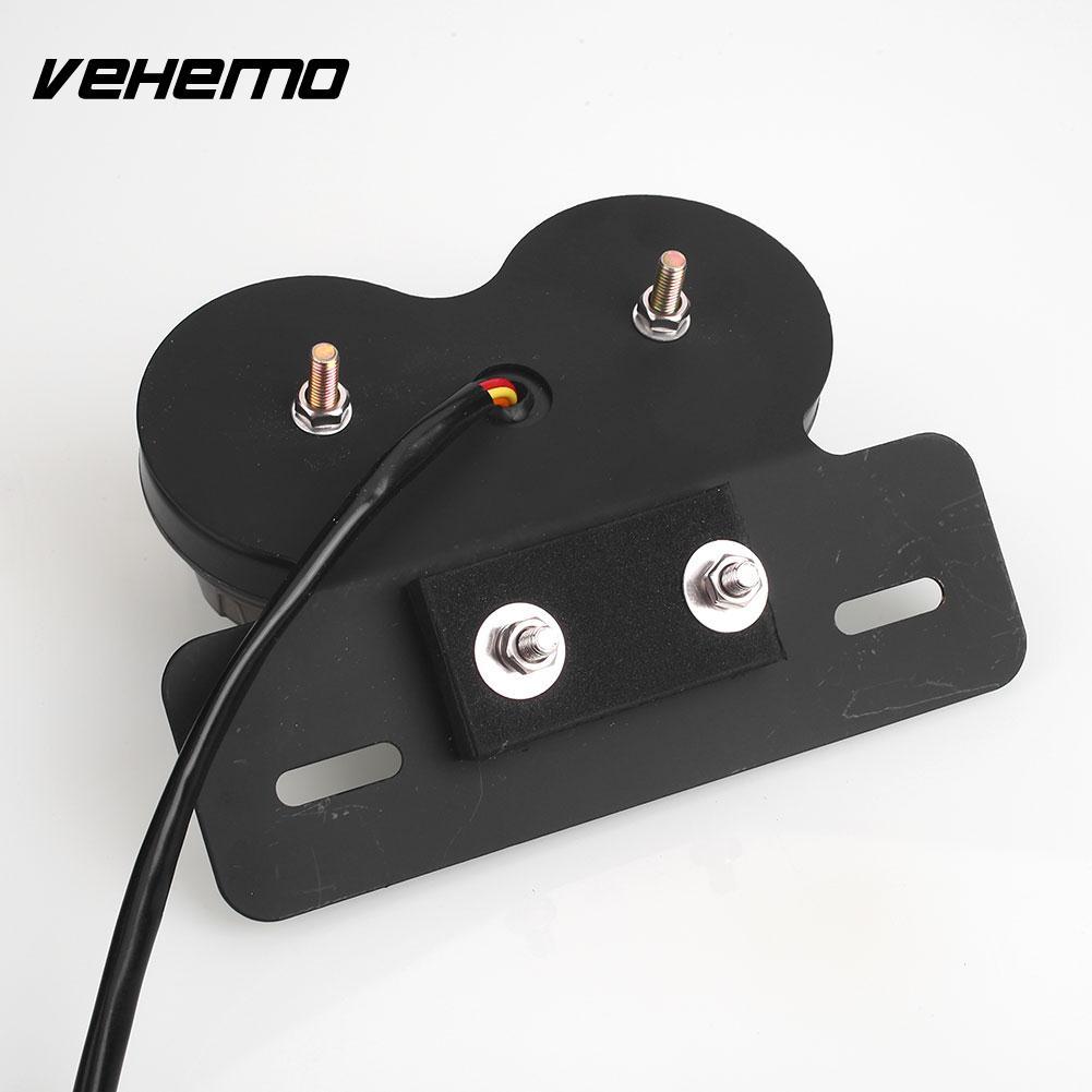 Vehemo Integrated Tail Light Motorcycle Light Dual LED Light Plastic DC 12V Generic License Plate Stop Brake ATV Chopper