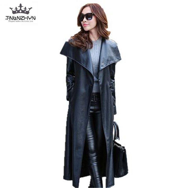 Korea Style 2019 Spring Autumn Women PU   Leather   Coat Slim Large Lapel   Leather   Jacket X-Long Fashion   Leather   Trench Coat SK114
