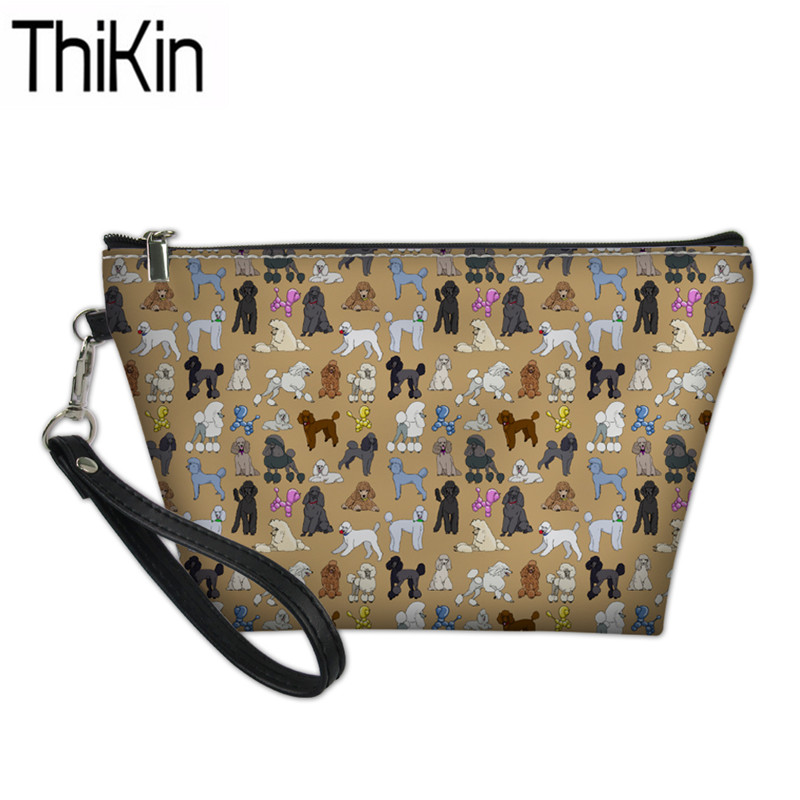 THIKIN Women's Poodle Printing Cosmetic Bags Ladies Portable Wash Kit Bag For Make Up Females Travel Toiletry Bag Cosmetic Pouch
