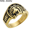 Valily Jewelry Mens Personality Lucky Horseshoe Ring Stainless Steel Vintage Gold Ring Band Finger anillos mujer ,US Size 7--13