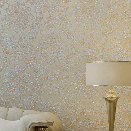 Buy europe modern textured glitter damask for Damask wallpaper living room ideas