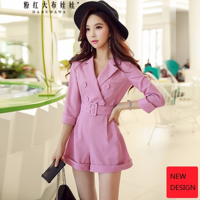 original 2018 brand spring collection playsuit belt waisted double breasted elegant OL rose pink solid jumpsuits women wholesale