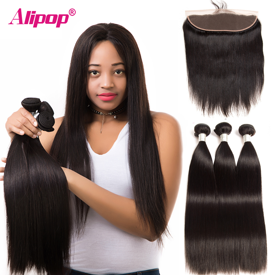 Discount Straight Human Hair 3 Bundles With Frontal Closure
