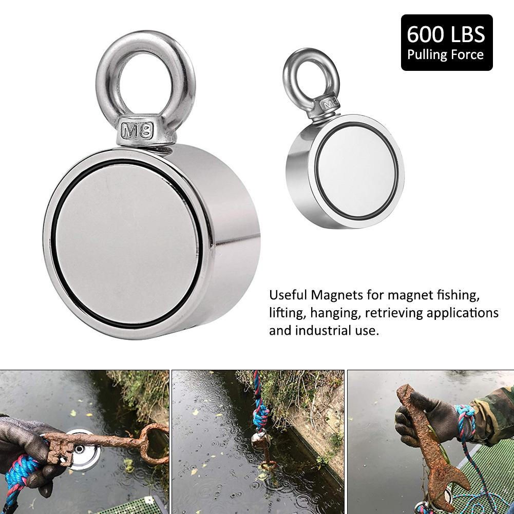 Max 1700LBS Double Sided Powerful Neodymium Magnet Big Magnetic Strong Salvage River Fishing Magnets Ring Hook Permanent