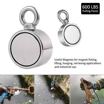 Max 1700LBS Double Sided Powerful Neodymium Magnet Big Magnetic Strong Salvage River Fishing Magnets Ring Hook Permanent - DISCOUNT ITEM  28% OFF All Category