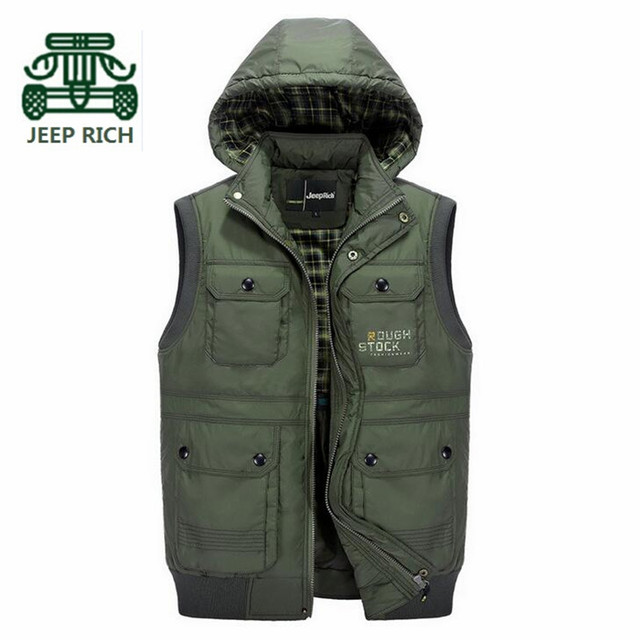 Rich AFS JEEP 2016 Winter Thickness Waterproof Sleeveless Jacket,Hat Detachable Casual Loose Pockets Vest Solid Cardigan Jackets