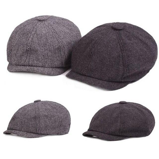 f2fcf073 2017 Fashion Stripe Beckham Male Octagonal Winter Cap For Man Newest Men  Cotton Newsboy Cap plaid Painter Beret Hat Retai