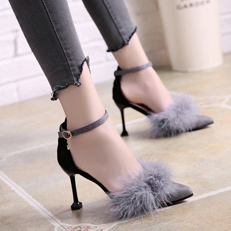 Pointu Style Noir Chaussures Femmes Mazefeng Hauts Matures vert Bout Talons Solide À Simple gris Femme 2018 Mode Dames Pompes 4qgIP