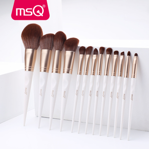 Набор кистей для макияжа MSQ, 13 шт./компл., основа для макияжа, тени для век, румяна, консилер, кисти для макияжа, синтетические волосы, белая руч...