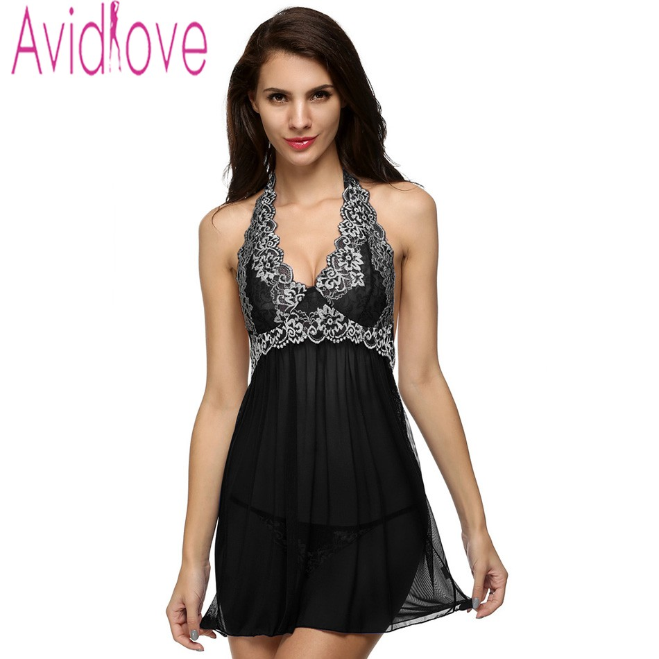 c2381ea3ac2 Avidlove Women Sexy Nightgown Nightdress Plus Size V-Neck Lingerie Set Lady  Lace Patchwork Off Shoulder + G-String Nightwear