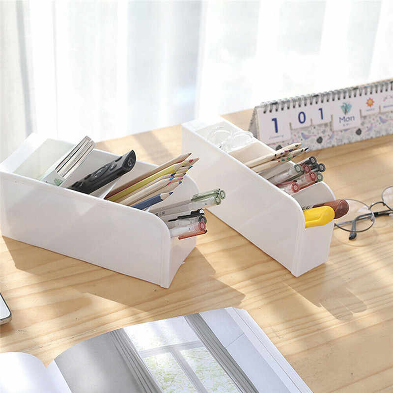 Plastic Desk Organizer Desktop Office Pen Pencil Holder Makeup Storage Tray FL