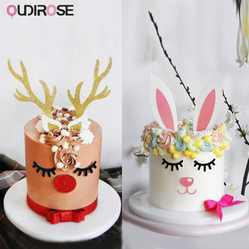 Cool Handmade Christmas Moose Cake Topper Set Decor Happy Birthday Funny Birthday Cards Online Overcheapnameinfo