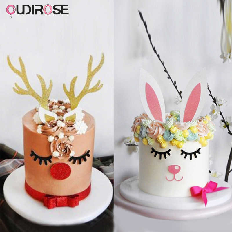 Christmas Birthday Cake.Handmade Christmas Moose Cake Topper Set Decor Happy Birthday Glitter Cake Top Flags For Children Boy Girl Baby Shower Supplies
