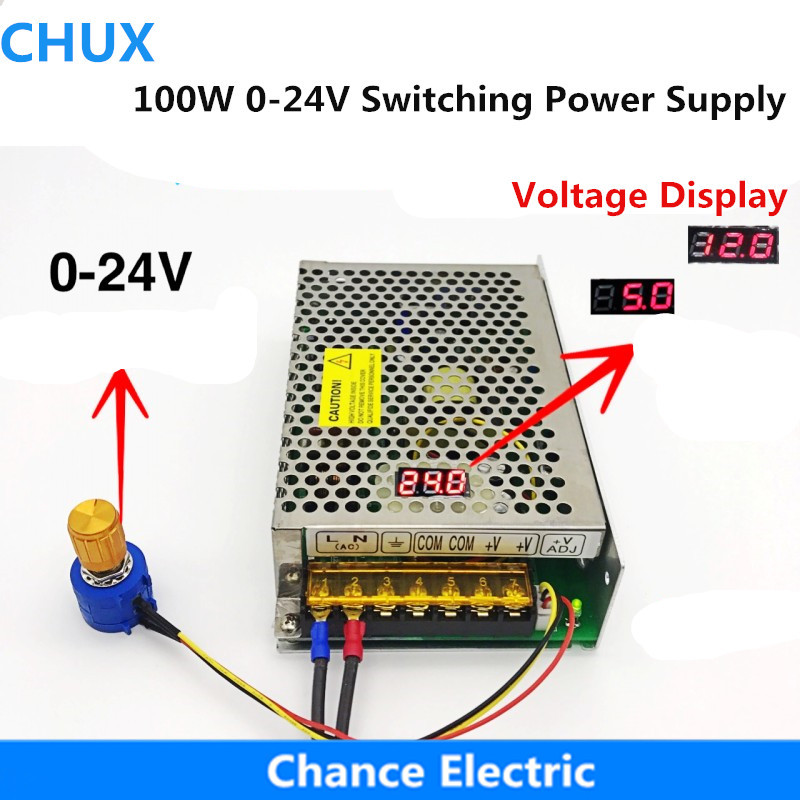 100W Digital Display Switching Power Supply Voltage Adjustable DC 0-<font><b>24V</b></font> <font><b>4A</b></font> Whole Range Adjustable Power Supply for led image