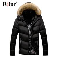 Riinr Men Warm Parkas Coat Winter Jackets Coats Hooded Casual Men's Parka Outwear Windproof Overcoat Male Parka