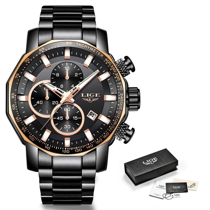 LIGE 2019 nouvelles montres pour hommes Top marque de luxe en acier Sport chronographe Quartz horloge étanche grand cadran montre hommes Relogio