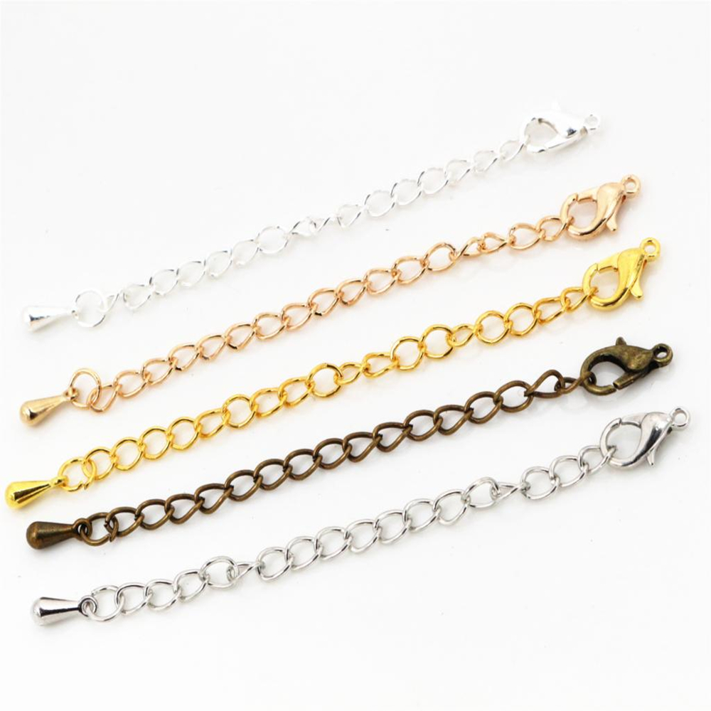 10pcs/lot 50 70mm Tone Extended Extension Tail Chain Lobster Clasps Connector For DIY Jewelry Making Findings Bracelet Necklace