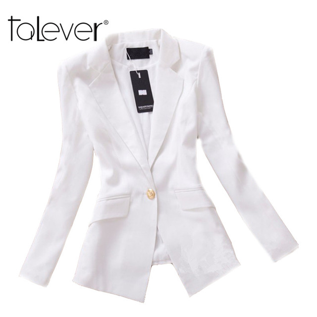 Slim Autumn Women Blazer 2016 Longqibeauty New Fashion Solid Cotton Blazer Single Button Long Sleeve Blazer Feminino