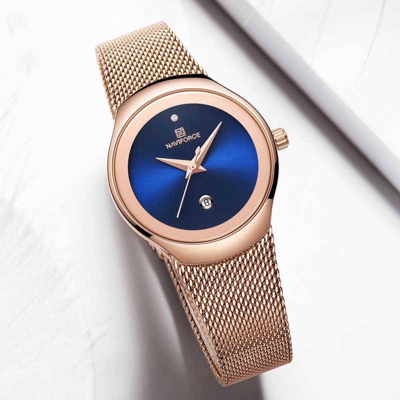 NAVIFORCE נשים אופנה זהב קוורץ שעון גברת מזדמן עמיד למים פשוט שעוני יד מתנה עבור בנות אשתו Saat Relogio Feminino