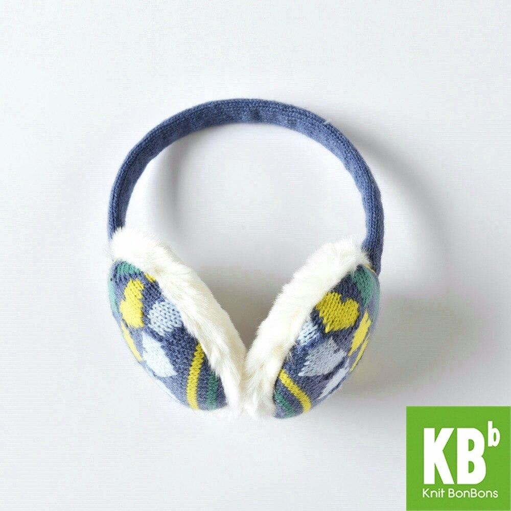 2018 KBB Printemps Bleu Jaune Mode De Modèle De Coeur Dame Enfants Enfants femmes Hommes Knit Chaud En Peluche Fausse Fourrure D'hiver Oreilles Oreille Manchon