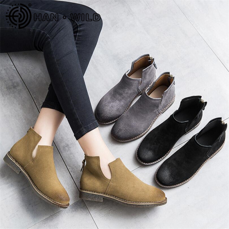 Chelsea Boots Women 100% Genuine leather Ankle Boots Pointed Toe Low Heel Spring Autumn Short Boots Ladies Retro Martin Boots