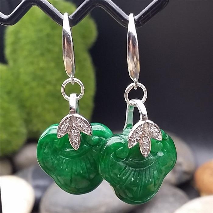 falling natural Tremella Earrings dry green ear hook earrings national retro Citroen students ear hook Ruyi ear clip shell detail hook earrings