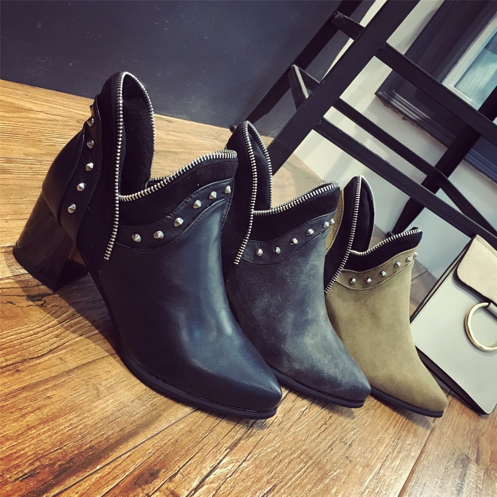 Women s Great pu Leather Pointed Toe Med Thick Heel Rivet Ankle Boots Brand Designer Short