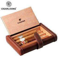 COHIBA Notebook Design skórzane etui na cygara przenośne cygaro Humidor posiada 4 cygara wykonane ze skóry PU i z drewna cedrowego HH-136